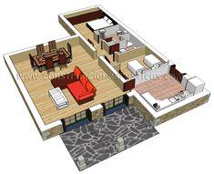 3D interior de una casa rustica de planta baja de 2 dormitorios.