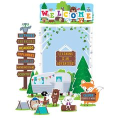 Creative Teaching Press - Woodland Friends Welcome Bulletin Board Set on sale now! Get huge savings on all of your teacher supplies at DK Classroom Outlet. Bulletin Board Sets, classroom decorations, and more. Diy Classroom Decorations, Classroom Displays, Classroom Themes, Classroom Activities, Classroom Door, Forest Classroom, Hallway Displays, Seasonal Classrooms, Classroom Setting