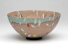 "Susan Nemeth - This pattern really appeals to me - ""it's made from laminated cheets of colored clays inlaid with hand cut patterns which are then beaten, rolled and streched over molds"". Sounds complicated!"