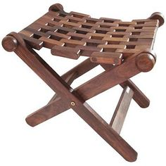 Wooden Folding Stool Hand Made Mesh Indian Sheesham Wood Ottomans Chair