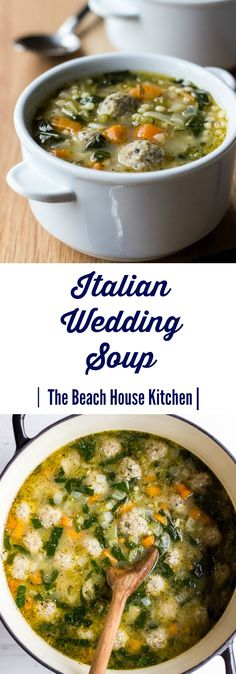 We're kind of a soup family in this house, and cannot wait until the cooler temps to start making them again. We're kind of a soup family in this house, and cannot wait until the cooler temps to start making them again. Italian Wedding Soup Recipe, Italian Soup, Italian Recipes, Wedding Soup Meatball Recipe, Italian Meatball Soup, Italian Chicken Soup, Soup Recipes, Dinner Recipes, Cooking Recipes