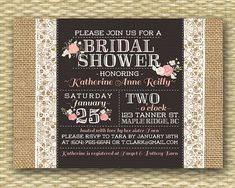 Wedding/Bridal or Baby Shower Invitation - Burlap & Lace Garden Bloom Typography - Birthday Invitation via Etsy