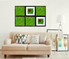 Solutii creative in peisagistica de interior Moss Art, Art Deco Lighting, Sofa, Couch, Gallery Wall, Interior Design, Frame, Creative, Flowers