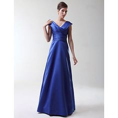 A-line Princess V-neck Floor-length Stretch Satin Bridesmaid/Wedding Party Dress  – USD $ 97.99  (shorten?)
