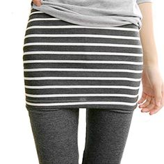 LOCOMO Leggings LOCOMO Women Girl Fake Skirt Peplum Stripe Striped Pant Legging FFT194BLK