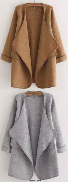 Khaki & Grey Long Sleeve Stitch Pocket Loose Cardigan