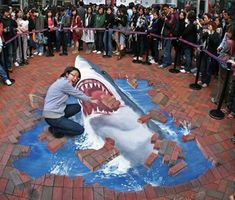 Shark Attack ~Julian Beever...his incrediable sidewalk art is truly amazing and so realistic!