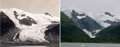 Aljaška v júni 1909 vs. v septembri 2000. (Foto: NASA)
