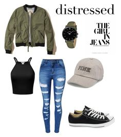"""A hint of olive green"" by emi-loo-boo13 ❤ liked on Polyvore featuring Hollister Co., WithChic, Converse, Victoria's Secret and CLUSE"