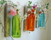 Autumn Bliss Collection of  Colored Bottles each mounted on wood base for unique rustic wall decor bedroom decor kitchen decor