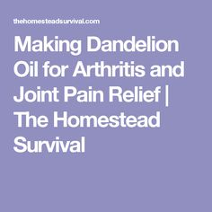 Making Dandelion Oil for Arthritis and Joint Pain Relief | The Homestead Survival