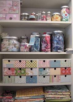 Ikea storage drawers decorated for craft storage Sewing Room Organization, Craft Room Storage, Craft Rooms, Storage Ideas, Organization Ideas, Diy Storage, Storage Bins, Craft Shelves, Closet Storage