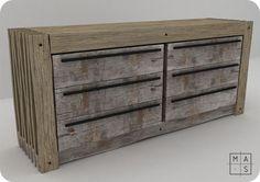Acabados metálicos se combinan con la madera para crear un mobiliario de fuerte personalidad.