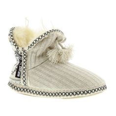 MUK LUKS Winter White Amira (40 CAD) ❤ liked on Polyvore featuring shoes, slippers and winter white