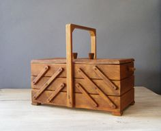 Wood Sewing Box, Vintage Accordion Storage Box, Mid Century Sewing Supply