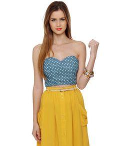 sweet heart bustier top with mustard yellow high waist skirt