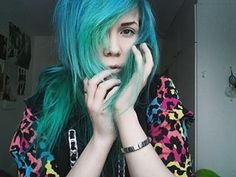 #hair #emo #bluehair #greenhair #scene #emogirl #scenegirl #leopard #style #alternative