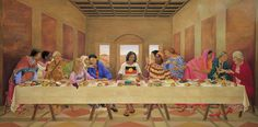 The First Supper is a controversial work of art by Susan Dorothea White, based on Leonardo da Vinci's painting The Last Supper. Leonardo Paintings, Da Vinci Last Supper, Soul Friend, Aboriginal People, Aboriginal Flag, Religious Symbols, Religious Art, Artist Quotes, Sacred Feminine
