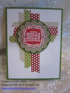 omg I ♥♥♥ this fancy Washi Tape card by Lynn Dunn from Stamptastic Designs. ♥ the use of the colours and the unevenness of the Seasons of Style Washi tape from the holiday catalog! . The sentiment comes from the Stampin Up! Tags 4 You stamp set. So gorgeous :-D