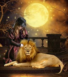 Girl and Lion Fantasy Pictures, Cool Pictures, Sarra Art, Lion Love, Lion Wallpaper, Le Roi Lion, Lion Of Judah, Lion Art, Lion Tattoo