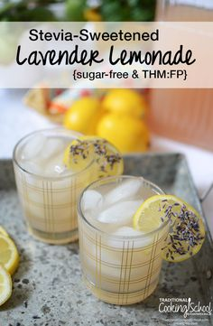 Stevia-Sweetened Lavender Lemonade {sugar-free & THM:FP} | Beat the summer heat without sugar with an ice-cold glass of sweet, sour, and floral stevia-sweetened lavender lemonade! Trim Healthy Mamas, you can sip on this Fuel Pull drink, too! | TraditionalCookingSchool.com