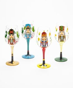 Nutcracker Hand-Painted Wine Glass Set