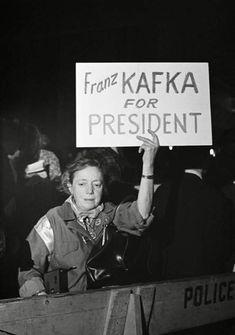David Fenton :: 'Franz Kafka for President'. Demonstration against Hubert Humphrey, New York City, October 1968 / src: Vintage-Photo-Booth Hubert Humphrey, Vintage Photography, Street Photography, Decir No, New York City, The Past, Daddy, Cinema, In This Moment