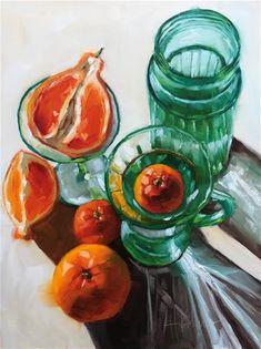 "Daily Paintworks - ""Oranges & Green"" - Original Fine Art for Sale - © Hallie Kohn"