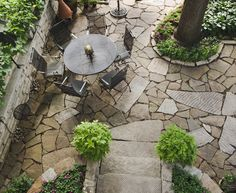 Flagstone Patio Area With Seating. Patio Bed, Back Patio, Backyard  Landscaping, Landscaping