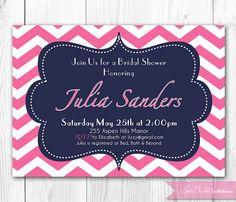 Bridal Shower Invitation - Modern Preppy Pink & Navy Chevron, Damask or Stripe. DIY Printable Invite. on Etsy, $14.00