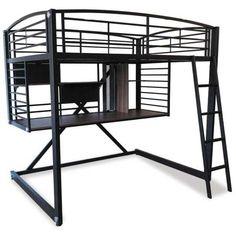 Ultra cool Loft Bunk Workstation by Condor Amazingly modern industrial design with ladder to top and plenty of workspace! Loft Bed Frame, Loft Bunk Beds, Loft Bed Plans, Cheap Closet, Warehouse Loft, Bunk Bed Designs, Room Design Bedroom, Bedroom Ideas, Modern Loft