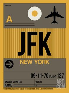 JFK New York Luggage Tag 3 Stretched Canvas Print
