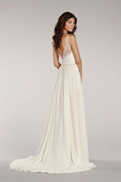 Style 1404 > Bridal Gowns, Wedding Dresses > Blush by Hayley Paige > Shown White slim Lace & Silk Georgette gown with Lace Illusion straps.Ruched Sweetheart bodice with Beaded Trim Belt at waist & Peek-A-Boo skirt Slit with Chapel Train (back)