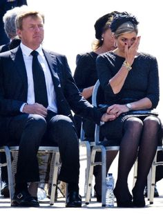 King Willem-Alexander and Queen Maxima of The Netherlands attend a ceremony upon the arrivals of a plane from Ukraine, carrying the remains of victims of downed Malaysia Airlines flight MH17, at Eindhoven Airbase, 23.07.2014 in Eindhoven, Netherlands.