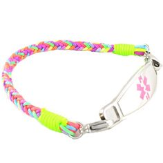 The Candy braided medical ID bracelet is a cool casual combination of nylon threads of lime, pink, purple and orange.