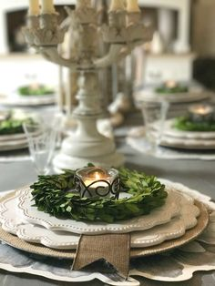 Seven Gorgeous Holiday Tablescape Ideas - Elegant farmhouse details in creams and naturals.  We share how to create your special holiday table.