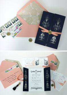 Ribbon, wax seal with folder   Brittany likes too   Tiffany laser cut invitation