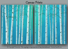 Teal green & gray wall art, Birch tree painting canvas art print, Large artwork for bedroom, living room or dining area Blue Green Bedrooms, Green Bedroom Decor, Teal Home Decor, Bedroom Office, Master Bedroom, Canvas Art Prints, Painting Prints, Canvas Wall Art, Painting Canvas