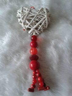 White cane heart with red beaded tassles by Aspirations1805 on Etsy