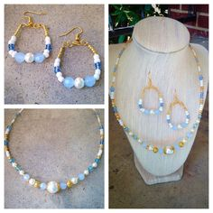 Hues of blue, white and pearl. beautifully handcrafted.
