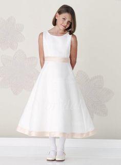 Flower Girl Dresses -  113.48 - A-Line Princess Scoop Neck Tea-Length Satin  Flower Girl Dress With Sash (01005009898) 1677c7835