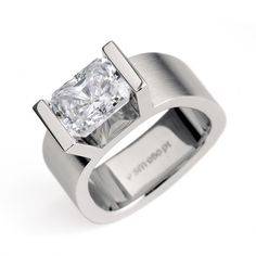 RING:  Matted Platinum Campata engagement ring with a 2.00 ct radiant cut diamond