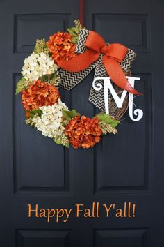 Fall Hydrangea Monogram Grapevine Wreath with by WreathDreams. I'm not usually in to wreaths, but this pretty. Fall Crafts, Holiday Crafts, Diy Crafts, Autumn Wreaths, Holiday Wreaths, Wreath Fall, Summer Wreath, Spring Wreaths, Diy Wreath