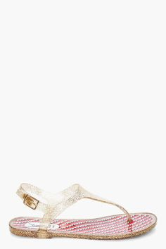Yves Saint Laurent Gold Tone Printy Sandals for women | SSENSE