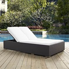 Modway Convene Double Outdoor Patio Chaise in Espresso White Chaise Cushions, Patio Chaise Lounge, Deck Chairs, Outdoor Sectional, Double Chaise Lounge Outdoor, Outdoor Loveseat, Outdoor Beds, Outdoor Living, Outdoor Decor