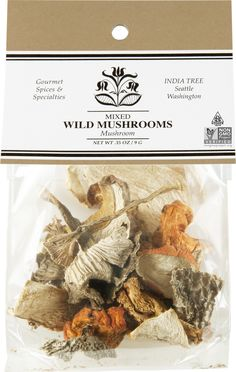 INDIA TREE MIXED WILD MUSHROOMS The rich, woodsy fragrance of dried wild mushrooms may be used to enhance the flavor of fresh, cultivated mushrooms. Use this mix for variety, texture, and color in any number of dishes. Dried Mushrooms, Stuffed Mushrooms, Specialty Foods, Food Coloring, Plant Based, Spices, Dishes, Vegetables, Fragrance