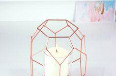 Copper Geometric Candle Holder Lantern