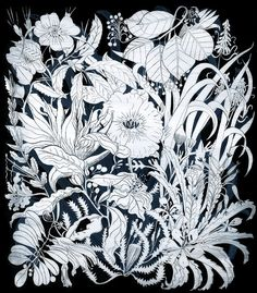 We recently discovered the work of Berlin based artist Romy Blümel, her intricately detailed and beautifully stylised illustrations are captivating and int Plant Illustration, Pattern Illustration, Botanical Illustration, Geometric Nature, Flora Flowers, Black White Art, Floral Illustrations, Watercolor Print, Graphic Prints