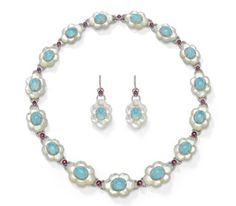 Laura Munder 18k white gold suite, set with mother-of-pearl, Peruvian blue opal, rubellite and diamonds