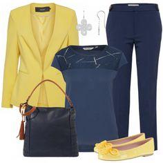 Schöner Businessloos aus gelbem Blazer, blauem Shirt und blauer Businessbluse.... #fashion #fashionista #mode #damenmode #frauenmode #damenoutfit #frauenoutfit #outfit #outfitinspo